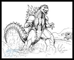 Commish - Gojira Comes Ashore by AlmightyRayzilla