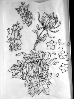 japanese flowers line drawing by michaelbrito