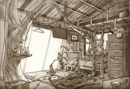Tree house interior  by H1L0K1L0