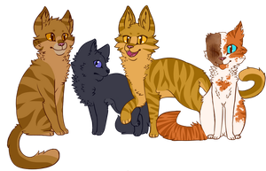 Brackenfur, Cinderpelt, Thornclaw, and Brightheart by qhostpaws