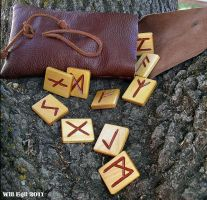 Norse runes on a tree by SurfTiki
