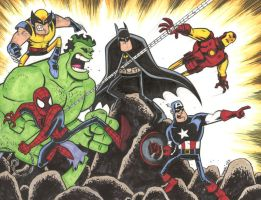 Superhero Group Commission FINAL by thecheckeredman