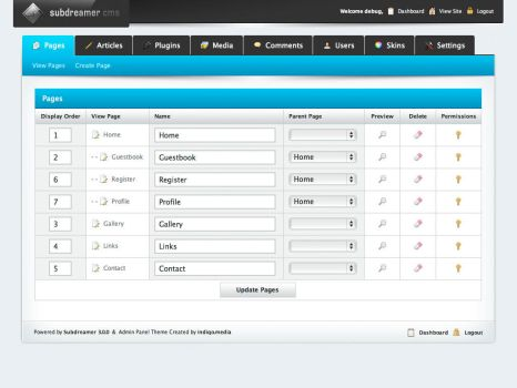 Subdreamer CMS Admin Panel by indiqo