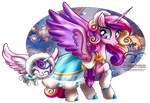 Winter Pony - Princess Cadence and Flurry Heart by selinmarsou