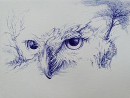 Ballpoint Pen drawing Owl landscape by Lineke-Lijn