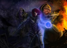 Mass Effect FanArt - Shepard, Garrus and Grunt by Luh-Dwolf