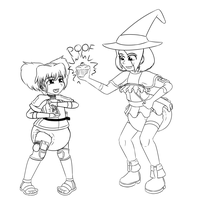 Babventurer Clare and Apprentice Diaper-Witch Dere by TheOwlcan