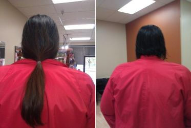 Before and after - hair donation by Tetsu-neko