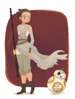Rey and BB-8 by peyoberry