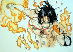 Portgas D. Ace Watercolor by ahelectronics