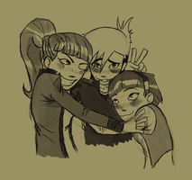 2nd Commission: Detentionaire group hug by RisingDiablo