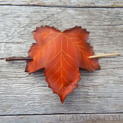 Fall Sycamore Leaf Hair Slide with Twig Closure by Beadmask