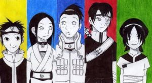 The Gaang in Kishimoto style by Maoden-DOis