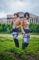 SnK Sasha and Mikasa by MayWolf23
