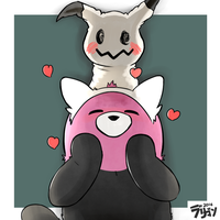 Mimikyu and Bewear by Raburigaron
