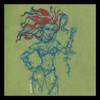 Poison Ivy Color Sketch by TheArtofAdamKnight