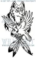 Wolf And Blue Jay Tattoo by WildSpiritWolf