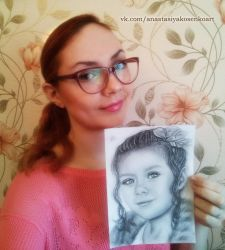 Me with portrait commission of Liza by AnastasiyaKosenko