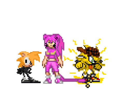 .:SPRITES:. A Girl, An Anthro Zapdos and a Recolor by Implosion-Explosion