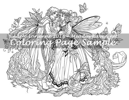 A Meadowhaven Fantasy Coloring Page: Faerie Gift by Saimain