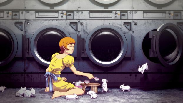 Bunny Laundry Tea Time by raccoonnook