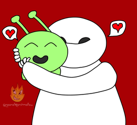 Mooncake and Baymax by CorporalMarshmallow