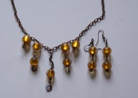 Jewellery set: Copper and gold by Margotka