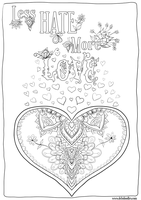 Less Hate More Love colouring page by WelshPixie