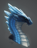 Blue barite crystal dragon headshot by Ragnaret