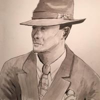 Cool hat portrait -- in greyscale ink washes by Benjorr