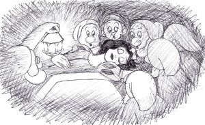 Inktober day 1: Snow White and the Seven Dwarfs by AsjJohnson