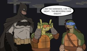 Batman vs. TMNT (colored mask variant) by CandyKappa