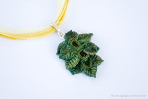Fairy leaf pendant necklace, polymer clay by NoirArt