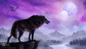 Commission: Fenrir's sky by Azany