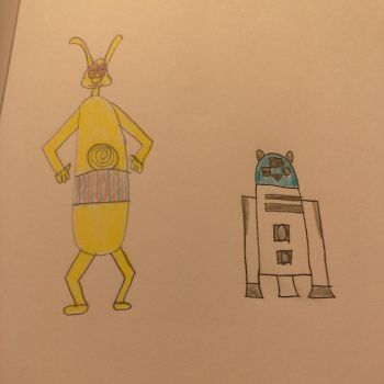Rabbit as C-3PO and Gopher as R2-D2 by burtonfan422