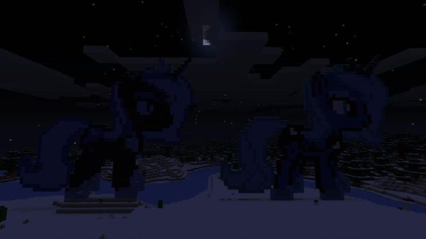 Night Mare Moon and Princess Luna Raising the Moon by GreatnPowerfulBNKing
