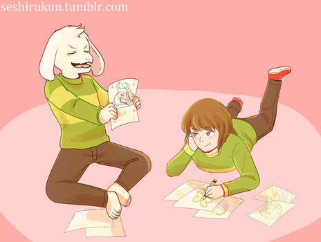 Chara and Asriel, simpler times by atomicheartlight