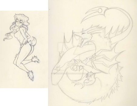 .:Meemau and Dragon sketches by 404EriNotFound