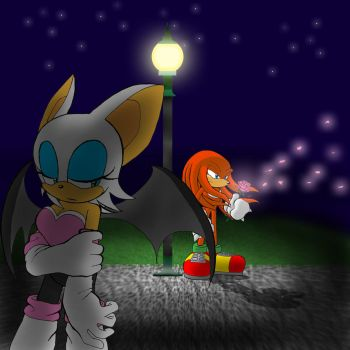 Knuckles and Rouge-Melancholy by Tigerfog