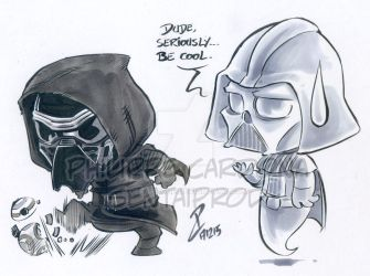 Chibi Kylo Ren and Vader by dekarogue