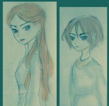 Sketch - Arya and Sansa Stark v02 by FuranBi