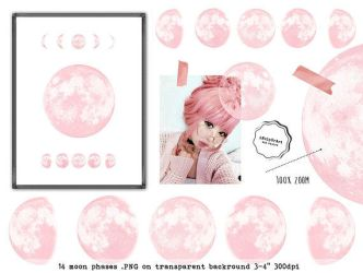 Pink moon phases clipart by iCatchUrDream