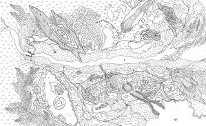 Lenmoria Elven Kingdom RPG Map black + white by AbstractPagan