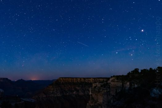 Shooting star over Grand Canyon by Hermes-Honshappo
