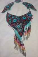 beaded embroidery necklace Turquoise dreams by marimerabi
