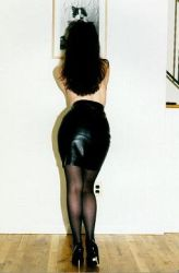 Leather skirt and heels by FawnL1983