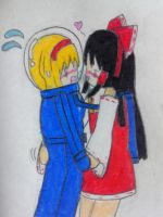 Alice and Reimu in spacesuit by Nekomi4