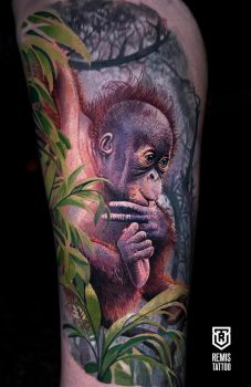 Realistic Colored Baby Orangutan Tattoo by Remistattoo