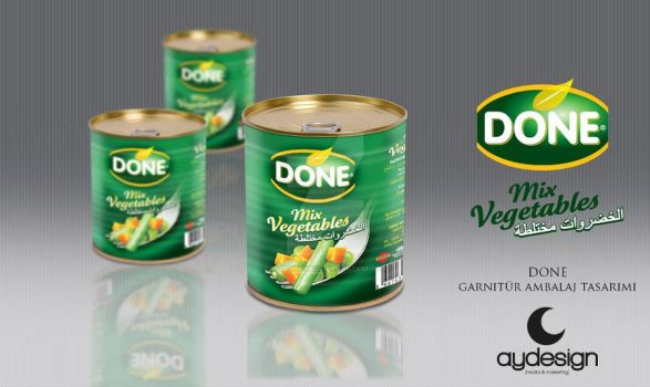 Done Canned Mix Vegetables Packaging Design by aydesignmedia