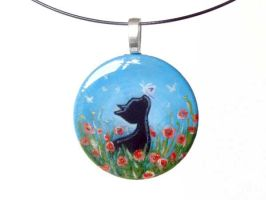 Black Cat Red Flowers Pendant by sobeyondthis
